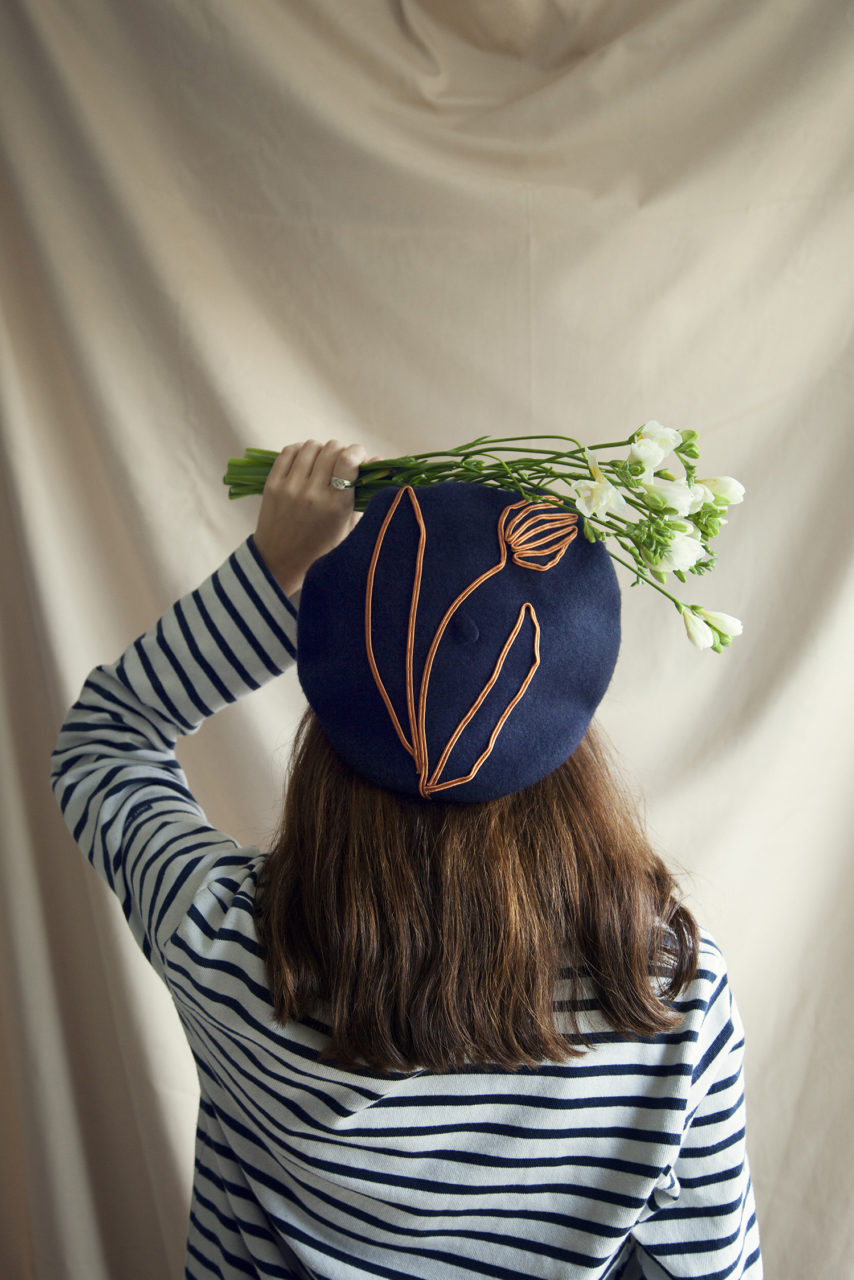 Lora Avedian Embroidered Beret photo by Ellie Smith
